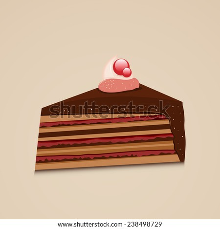 Tasty delicious cake slice design, can be used as restaurant menu card design. - stock vector