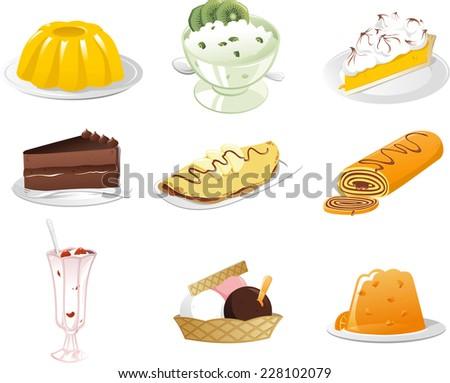 Tasty Desserts icon set - stock vector