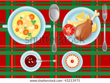 Tasty dinner (Soup, chicken leg, potato, tomato, cup of coffee and cake on a checkered cloth) - stock vector