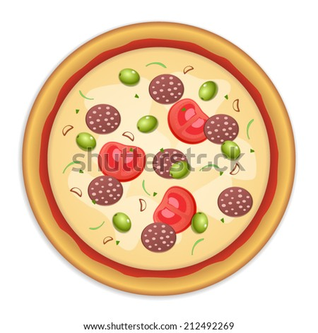 Tasty, flavorful pizza isolated on white background  - stock vector