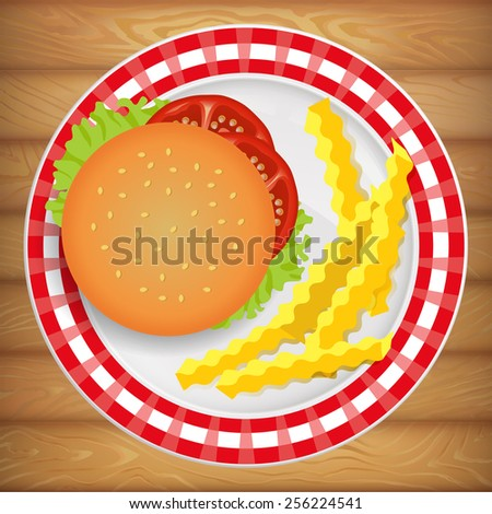 Tasty fresh burger with french fry on beautiful bright plate. Vector image can be used for restaurant and cafe menu design, food posters, print cards and other crafts. - stock vector