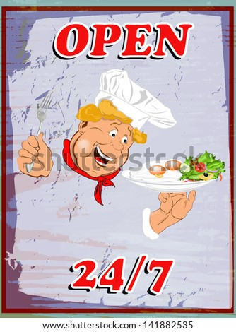 Tasty fresh delicious food poster from Chef. Vector illustration - stock vector