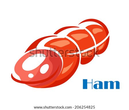 Tasty ham meat logo isolated on white background in cartoon sketch style - stock vector