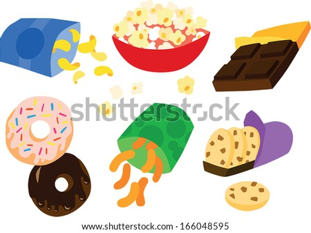 Tasty Indulgent Sweet and Savory Snack Set - stock vector