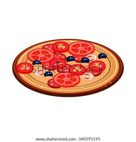 Tasty Italian Pizza Illustration. Vector Design modern style - stock vector