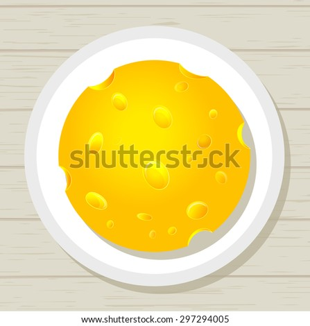 Tasty juicy round piece of cheese on a plate on the wooden table - stock vector