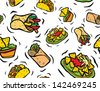 Tasty Mexican Food Seamless Pattern - stock vector