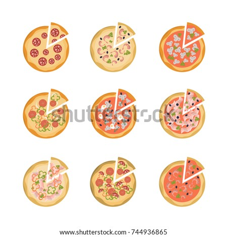Tasty pizza set. All kinds of pizza on white background.