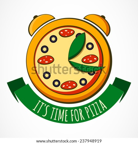 Tasty pizza with clock, design template. Vector illustration. Concept for pizzeria, food delivery, Italian restaurant. - stock vector