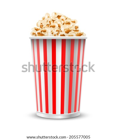 Tasty popcorn isolated on a white background, illustration.