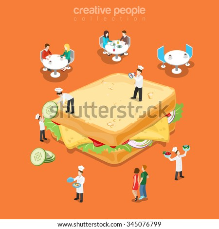 Tasty sandwich restaurant fast food menu flat 3d isometry isometric concept web vector illustration. Huge cheese salad vegetable square sandwich micro cook table visitor. Creative people collection. - stock vector