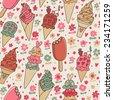 Tasty seamless pattern made of yummy ice cream in bright colors in vector. Seamless pattern can be used for wallpapers, pattern fills, web page backgrounds, surface textures. - stock vector