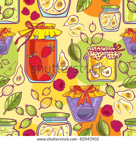 Tasty summer jam of plums, gooseberries, strawberries, apples and pears. Seamless  texture. - stock vector