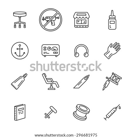Tattoo and piercing thin line icons - stock vector
