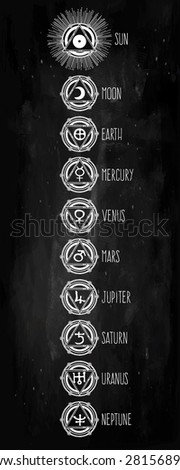 Tattoo Art Set Astrology Medieval Alchemist Stock Vector 281569382 ...