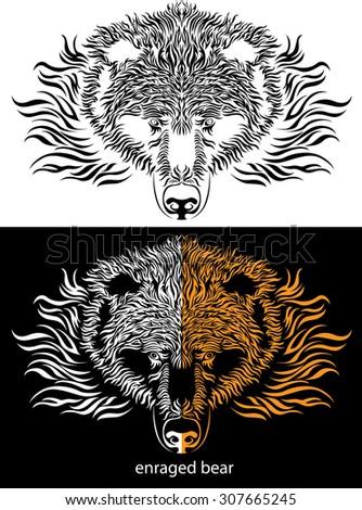 tattoo bear logotype - stock vector