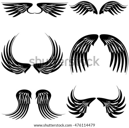 Tattoo black wings set in vector format very easy to edit