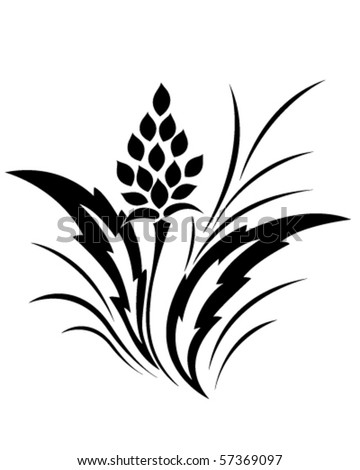 Tattoo, classical flower pattern - stock vector