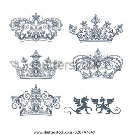 تيجان ملكية  امبراطورية فاخرة 7 Stock-vector-tattoo-crown-with-a-vegetative-ornament-on-a-white-background-set-vector-illustration-328747649