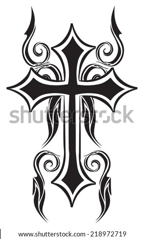 Tattoo design of christian cross, vintage engraved illustration.  - stock vector