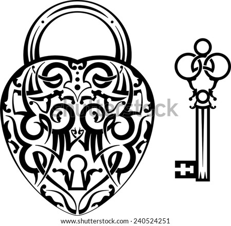 Tattoo Design of Lock ands Key