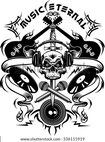 Tattoo Dj Human skull and Microphone  - stock vector