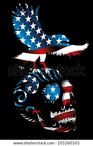 tattoo eagle and skull - stock vector