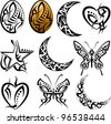 Tattoo Egg, Moon, Heart, Butterfly - stock vector