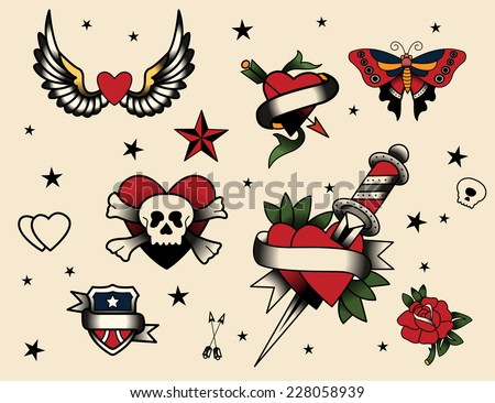 Tattoo Flash Set  Vector Illustration Icon Cartoon. - stock vector