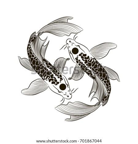 Tattoo armblack white koi fish vectorhand stock vector for All white koi