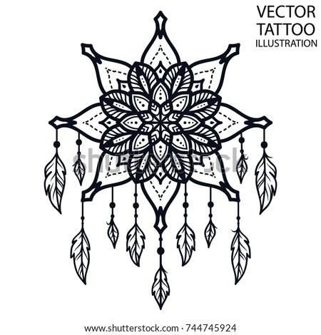 Tattoo Shoulder Waist Blade Forearm Stock Vector 744745924