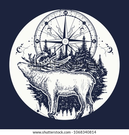 Tattoo for travelers, climbers, hikers, wild forest. Deer and compass ethnic tribal. Adventure, travel, outdoors, symbol