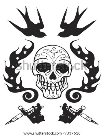 tattoo guns and skull - stock vector
