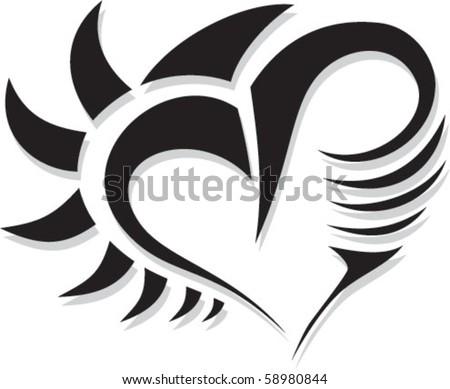 Tattoo heart - stock vector