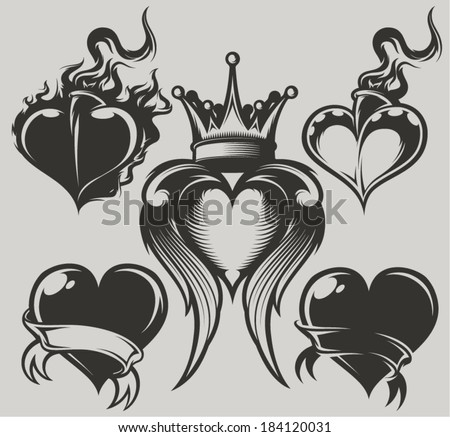Tattoo Hearts - stock vector