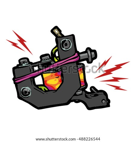 tattoo machine vector art stock vector 488226544 shutterstock rh shutterstock com gun tattoo vector tattoo machine vector png
