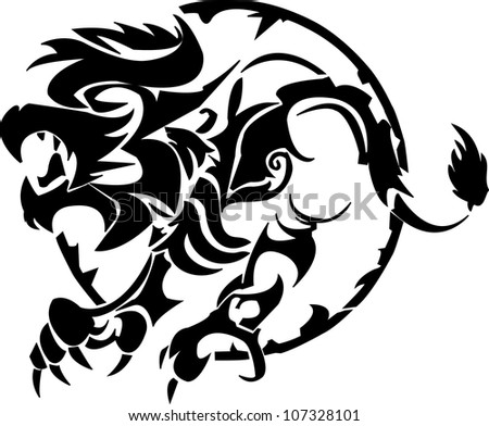 tattoo of a lion on a white background - stock vector