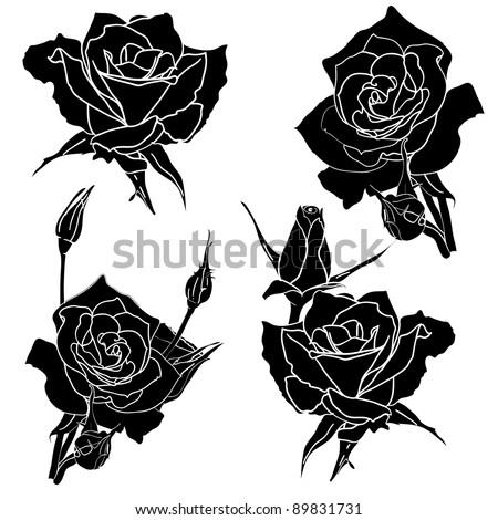 tattoo rose flower - stock vector