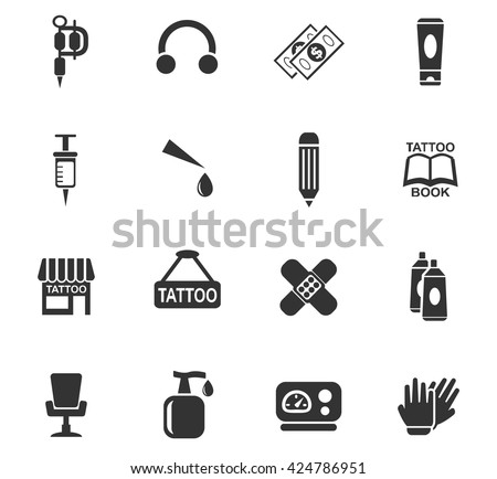 tattoo salon web icons for user interface design