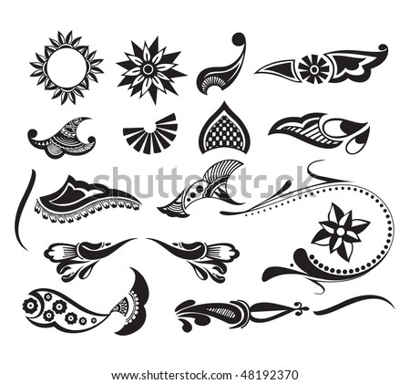 Tattoo set element of your design used, vector illustration - stock vector