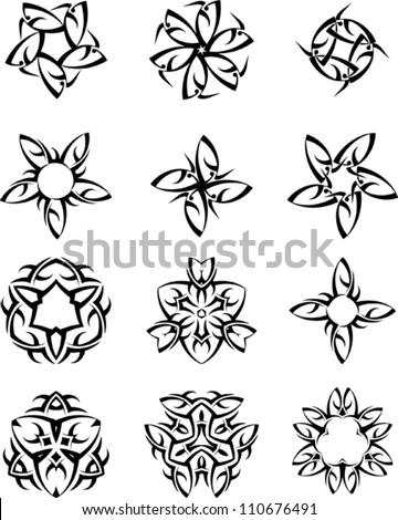 Tattoo Set Sun, Star mix - stock vector