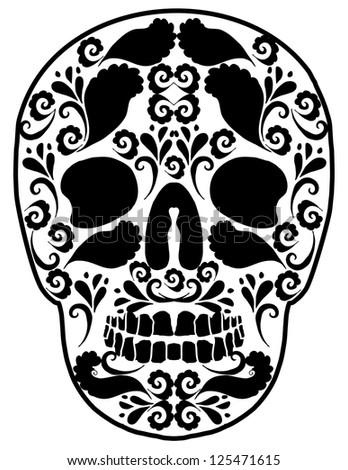 tattoo skull vector art - stock vector