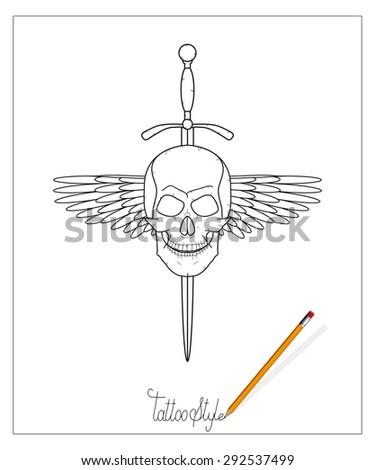 tattoo skull with sword - stock vector