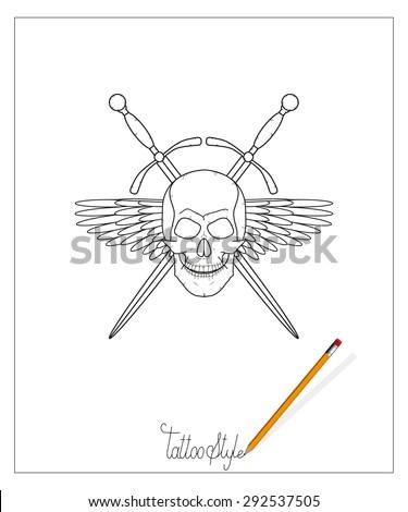 tattoo skull with swords - stock vector