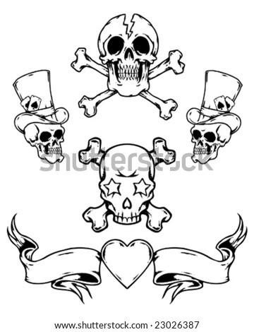 tattoo skulls and banner - stock vector