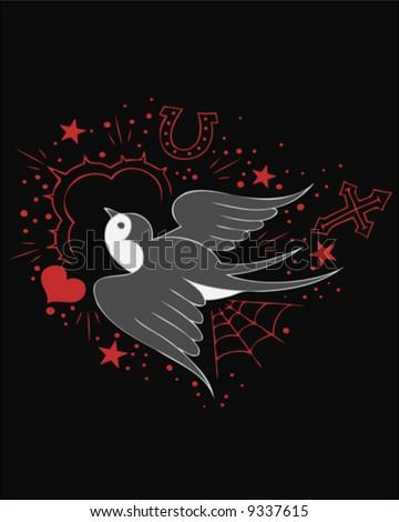 tattoo sparrow - stock vector