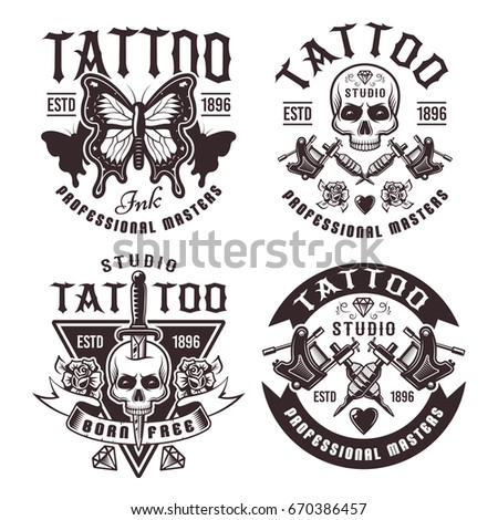 Tattoo Studio Set Four Vector Vintage 670386457