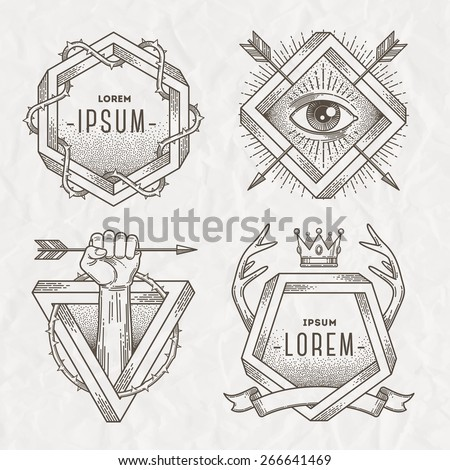 Tattoo style line art emblem with heraldic elements and impossible shape - vector illustration - stock vector
