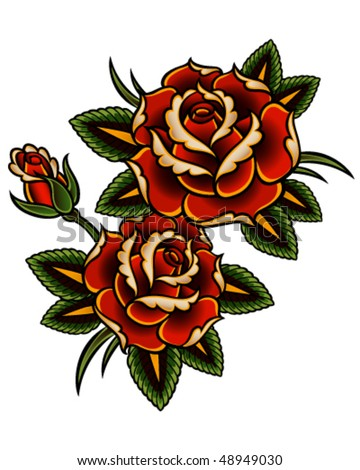 Tattoo style roses - stock vector