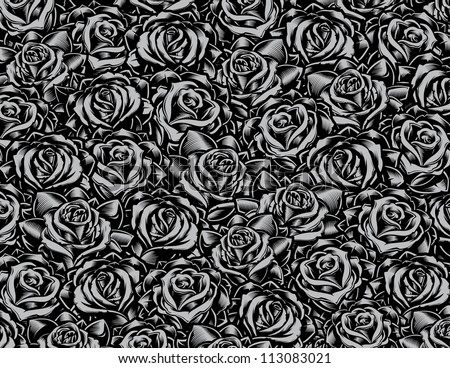 Tattoo Style Roses Background. Vector illustration of a collage of roses arranged into a pattern. Pattern is not seamless. - stock vector